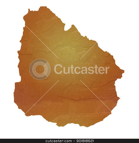 Textured map of Uruguay stock photo, Textured map of Uruguay map with brown rock or stone texture, isolated on white background with clipping path. by Martin Crowdy