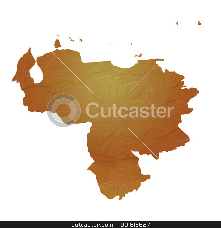 Textured map of Venezuela stock photo, Textured map of Venezuela map with brown rock or stone texture, isolated on white background with clipping path. by Martin Crowdy