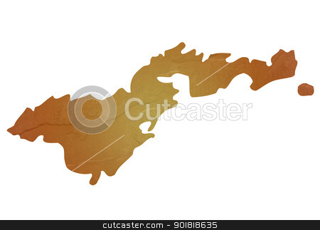 Textured map of Western Samoa stock photo, Western Samoa map with brown rock or stone texture, isolated on white background with clipping path. by Martin Crowdy