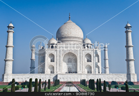 Taj Mahal in Agra, India stock photo, In front of Taj Mahal in Agra, India by Worldphotos