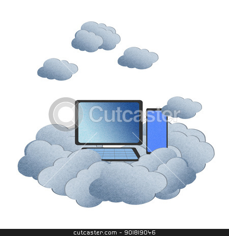 Recycle paper ,Cloud computing concept with PC in the clouds.  stock photo, Recycle paper ,Cloud computing concept with PC in the clouds.  by jakgree