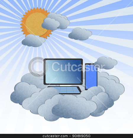 Recycle paper cloud computing with the sun, Cloud computing conc stock photo, Recycle paper cloud computing with the sun, Cloud computing concept. by jakgree