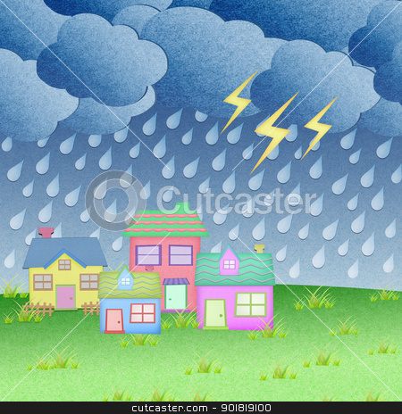 house from recycle paper with grass field in rainy time stock photo, house from recycle paper with grass field in rainy time by jakgree