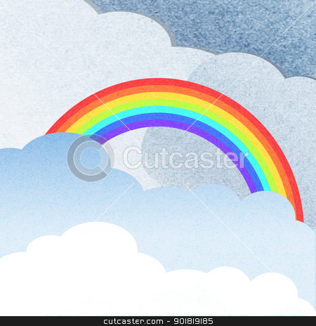 recycle paper cloud and rainbow  stock photo, recycle paper cloud and rainbow  by jakgree