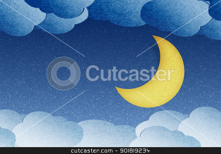 Grunge recycled paper moon in the night stock photo, Grunge recycled paper moon in the night by jakgree