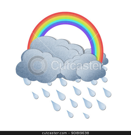 Grunge recycled paper rainbow with rain on white background stock photo,  Grunge recycled paper rainbow with rain on white background by jakgree