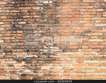 Old red grunge brick wall stock photo, Old red grunge brick wall by jakgree