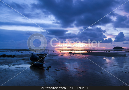 Boat on the beach at sunset time stock photo, Boat on the beach at sunset time by jakgree