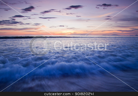 Landscape of sea with dramatic wave in sunset. stock photo, Landscape of sea with dramatic wave in sunset. by jakgree