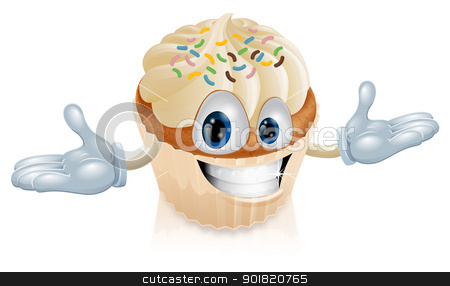 Cup cake mascot illustration stock vector clipart, An illustration of a smiling cup cake mascot by Christos Georghiou