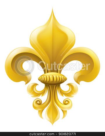Golden Fleur-de-lis illustration stock vector clipart, Golden fleur-de-lis decorative design or heraldic symbol.  by Christos Georghiou