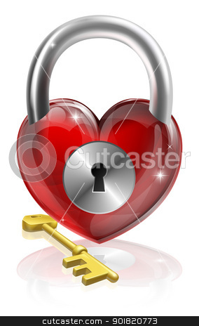 Key to your heart stock vector clipart, Key to your heart conceptual illustration. A heart shaped padlock with a brass key. by Christos Georghiou