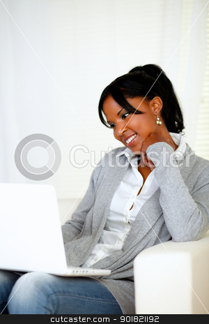 Lovely young woman smiling and looking to laptop stock photo, Portrait of a lovely young woman smiling and looking to laptop screen at home indoor by pablocalvog
