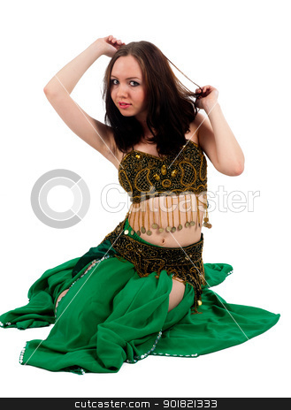 Belly dancer stock photo, Beautiful girl in belly dance costume on a white background by Aikon