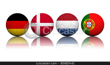 3D Rendering Soccer balls with flag pattern, European Soccer Cha