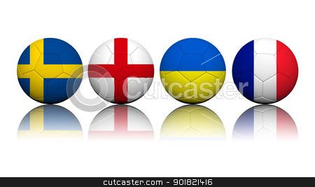 3D Rendering Soccer balls with flag pattern, European Soccer Cha