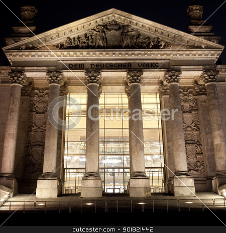 The Reichstag at night stock photo, The front entrance of the Reichstag in Berlin. by Chris Dorney