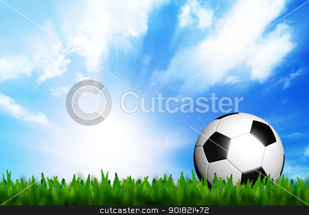 3D football in green grass on blue sky stock photo, 3D football in green grass on blue sky by jakgree