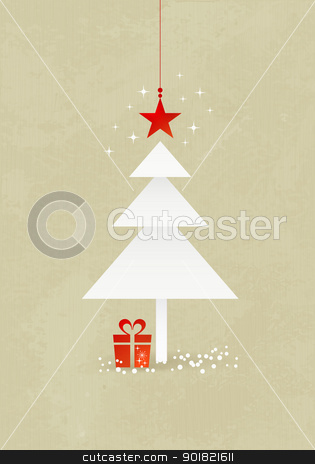 Christmas tree background stock vector clipart, Grunge Christmas background with minimalistic Christmas tree made from 3 paper triangles. A red star at the top and present at the bottom of the tree.  by Ina Wendrock
