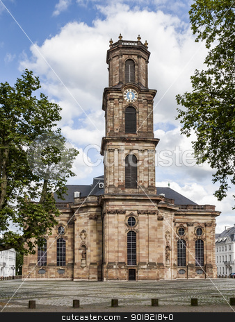 Ludwigskirche Saarbrücken stock photo, An image of the famous church Ludwigskirche in Saarbrücken Germany by Markus Gann
