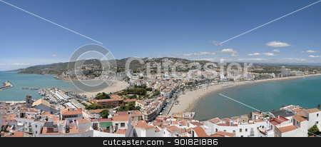 peiscola stock photo, panoramic of the Costa del Azahar in Spain by luiscar