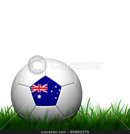 3D Football Australia Flag Patter in green grass on white backgr stock photo, 3D Football Australia Flag Patter in green grass on white background by jakgree