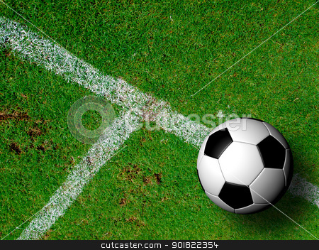 Football ( soccer ball ) in green grass field. stock photo, Football ( soccer ball ) in green grass field. by jakgree