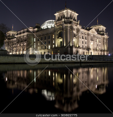 Reichstag from across the Spree stock photo, A view of the back of The Reichstag from across the river Spree in Berlin. by Chris Dorney