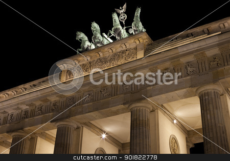 Brandenburg Gate at Night stock photo, The Brandenburg Gate in Berlin. by Chris Dorney
