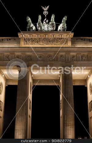 The Brandenburg Gate at Night stock photo, The Brandenburg Gate in Berlin. by Chris Dorney
