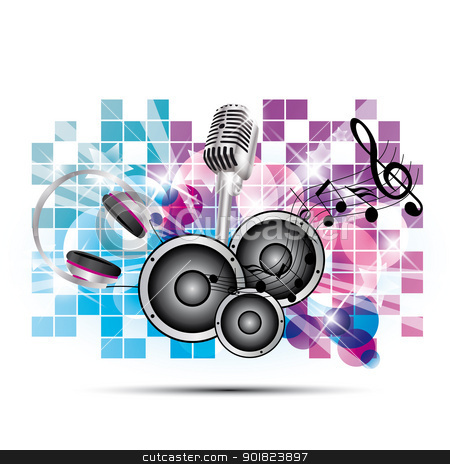 musical background stock vector clipart, colored background music with headphones and speakers, microphone by Miroslava Hlavacova