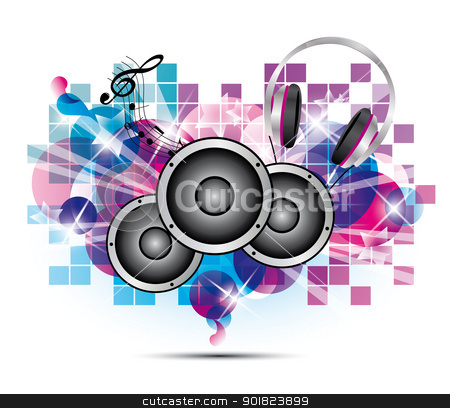 musical background stock vector clipart, colored background music with headphones and speakers  by Miroslava Hlavacova