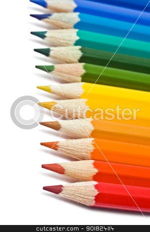 Pencil stock photo, Coloured pencils with shadow on white background by Alexey Popov
