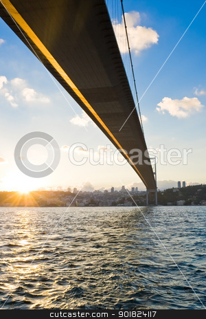 Bosphorus Bridge at sunset stock photo, The Bosphorus Bridge which connects Europe and Asia, Istanbul by Alexey Popov