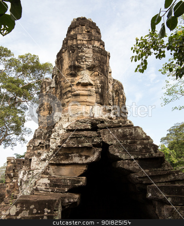 South gate of Angkor Thom Cambodia stock photo, Carved stone south gate to Angkor Thom in Cambodia by Steven Heap