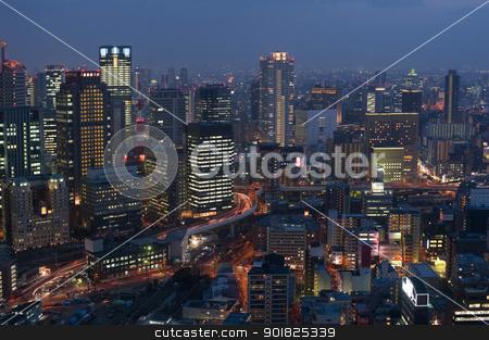 Osaka at Night stock photo, Panoramic view of Osaka Japan by night by Stephen Gibson