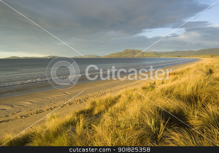 7 Mile Beach stock photo, Late afternoon sun over 7 mile beach, Hobart, Tasmania by Stephen Gibson