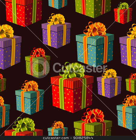 Colorful group of gift boxes pattern stock photo, Colorful gift boxes with important ribbons pattern on black background. Vector file layered for easy manipulation and custom coloring. by Cienpies Design