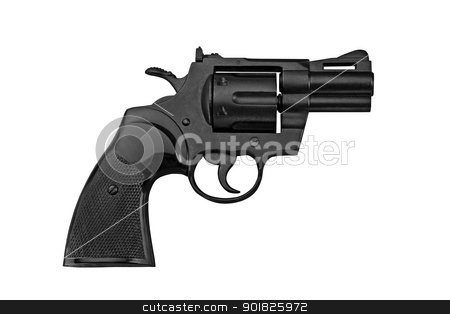 revolver stock photo, black revolver on a white background by miloslav78