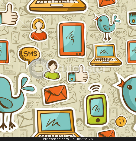 Social media cartoon icons colorful pattern stock photo, Social media cartoon icons colorful seamless pattern .Vector file layered for easy manipulation and custom coloring. by Cienpies Design