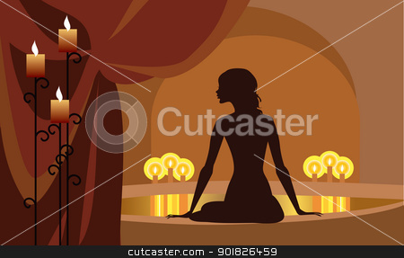 At Spa stock vector clipart, Vector silhouette of a woman at spa procedures by Vanda Grigorovic