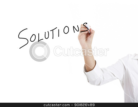 Solutions stock photo, Young businesswoman woman drawing the word solution by ikostudio