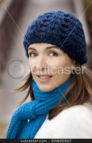 Beautiful young woman stock photo, Outdoor portrait of a beautiful young woman by ikostudio