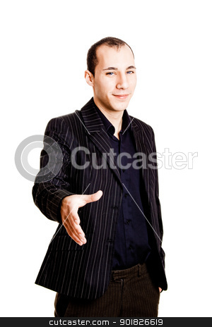 Businessman stock photo, Portrait of a young businessman giving a handshake, isolated on white background by ikostudio