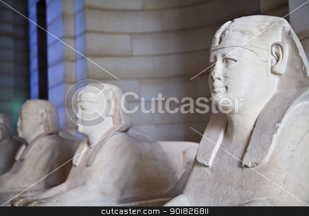 Three Sphynxes stock photo, Egyptian sphinxes: three statues in a row, useful fo museum concepts by Perseomedusa