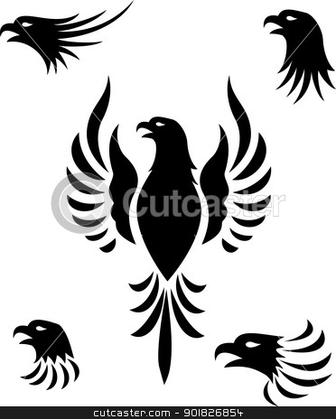 Eagle head tattoo stock vector clipart, Vector illustration of eagle head tattoo collection by Surya Zaidan