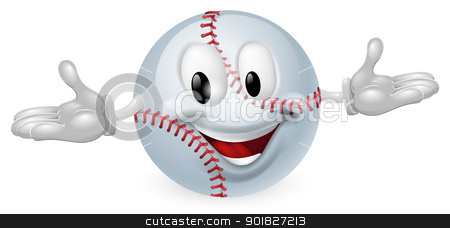 Baseball Ball Man stock vector clipart, Illustration of a cute happy baseball ball mascot man by Christos Georghiou