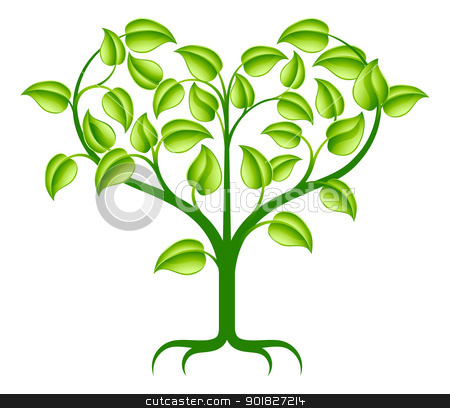 Green heart tree illustration stock vector clipart, A green abstract tree illustration with branches growing into a heart shape. by Christos Georghiou