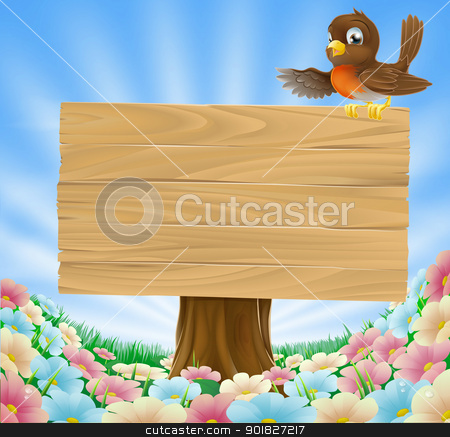 Rustic woodland sign stock vector clipart, Illustration of a robin bird on a wood sign in a country field filled with pretty flowers by Christos Georghiou