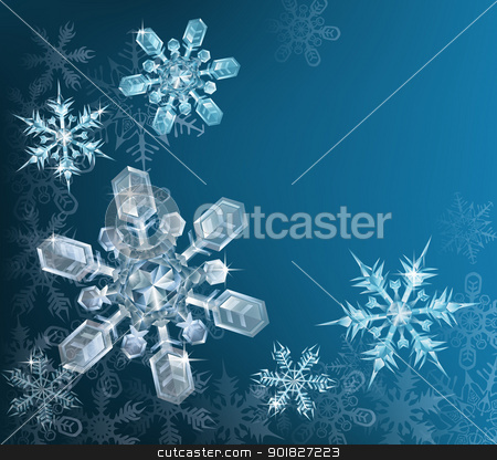 Blue Christmas snowflake background stock vector clipart, Lovely blue snowflake Christmas background with translucent snowflakes by Christos Georghiou
